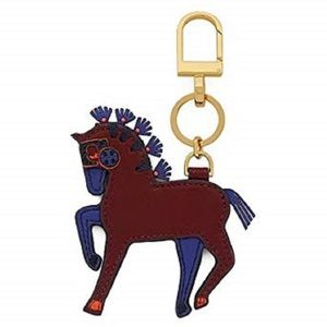 TORY BURCH LEATHER HORSE BAG CHARM KEY HOLDER